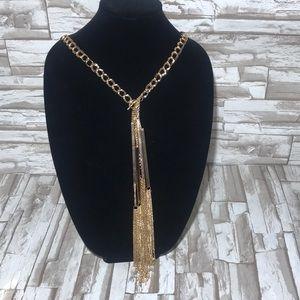 Natasha bars cascade gold tone necklace.